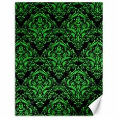 Damask1 Black Marble & Green Colored Pencil Canvas 12  X 16