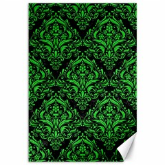 Damask1 Black Marble & Green Colored Pencil Canvas 12  X 18