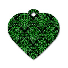 Damask1 Black Marble & Green Colored Pencil Dog Tag Heart (two Sides)