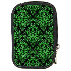 Damask1 Black Marble & Green Colored Pencil Compact Camera Cases