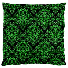 Damask1 Black Marble & Green Colored Pencil Large Flano Cushion Case (two Sides)