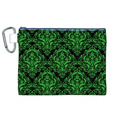 Damask1 Black Marble & Green Colored Pencil Canvas Cosmetic Bag (xl)