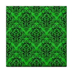 Damask1 Black Marble & Green Colored Pencil (r) Tile Coasters
