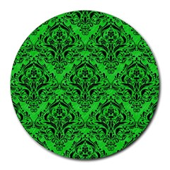 Damask1 Black Marble & Green Colored Pencil (r) Round Mousepads