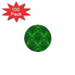 Damask1 Black Marble & Green Colored Pencil (r) 1  Mini Buttons (100 Pack)