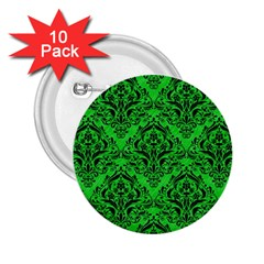 Damask1 Black Marble & Green Colored Pencil (r) 2 25  Buttons (10 Pack)