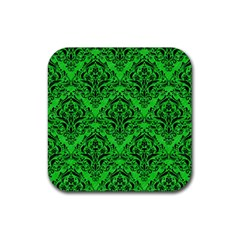 Damask1 Black Marble & Green Colored Pencil (r) Rubber Square Coaster (4 Pack)