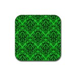 DAMASK1 BLACK MARBLE & GREEN COLORED PENCIL (R) Rubber Square Coaster (4 pack)  Front