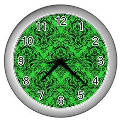 Damask1 Black Marble & Green Colored Pencil (r) Wall Clocks (silver)