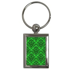 Damask1 Black Marble & Green Colored Pencil (r) Key Chains (rectangle)