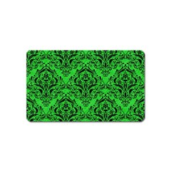 Damask1 Black Marble & Green Colored Pencil (r) Magnet (name Card)