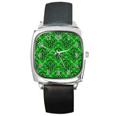 Damask1 Black Marble & Green Colored Pencil (r) Square Metal Watch