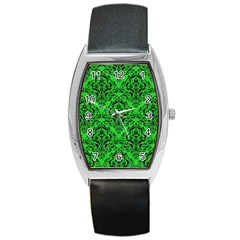 Damask1 Black Marble & Green Colored Pencil (r) Barrel Style Metal Watch