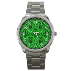 Damask1 Black Marble & Green Colored Pencil (r) Sport Metal Watch