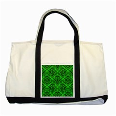 Damask1 Black Marble & Green Colored Pencil (r) Two Tone Tote Bag