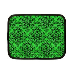 Damask1 Black Marble & Green Colored Pencil (r) Netbook Case (small)