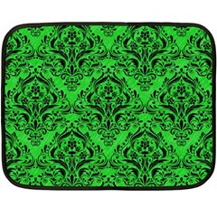 Damask1 Black Marble & Green Colored Pencil (r) Fleece Blanket (mini)