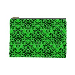 Damask1 Black Marble & Green Colored Pencil (r) Cosmetic Bag (large)