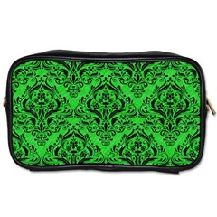 Damask1 Black Marble & Green Colored Pencil (r) Toiletries Bags