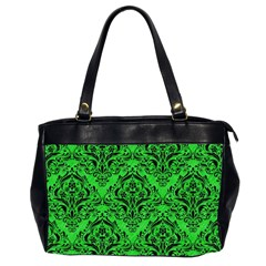 Damask1 Black Marble & Green Colored Pencil (r) Office Handbags (2 Sides)