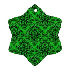 Damask1 Black Marble & Green Colored Pencil (r) Ornament (snowflake)