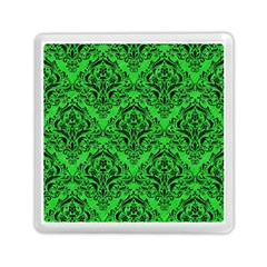 Damask1 Black Marble & Green Colored Pencil (r) Memory Card Reader (square)