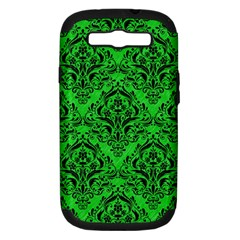Damask1 Black Marble & Green Colored Pencil (r) Samsung Galaxy S Iii Hardshell Case (pc+silicone)