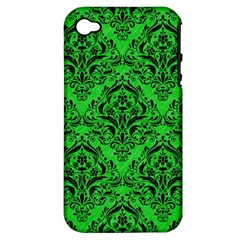 Damask1 Black Marble & Green Colored Pencil (r) Apple Iphone 4/4s Hardshell Case (pc+silicone)