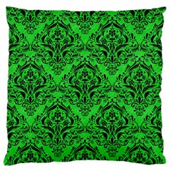 Damask1 Black Marble & Green Colored Pencil (r) Standard Flano Cushion Case (one Side)