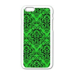 Damask1 Black Marble & Green Colored Pencil (r) Apple Iphone 6/6s White Enamel Case