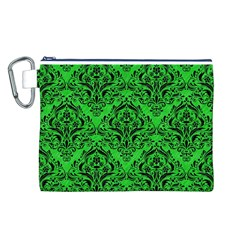 Damask1 Black Marble & Green Colored Pencil (r) Canvas Cosmetic Bag (l)