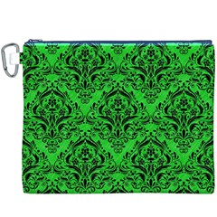 Damask1 Black Marble & Green Colored Pencil (r) Canvas Cosmetic Bag (xxxl)
