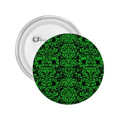 Damask2 Black Marble & Green Colored Pencil 2 25  Buttons