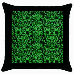 Damask2 Black Marble & Green Colored Pencil Throw Pillow Case (black)