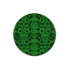 Damask2 Black Marble & Green Colored Pencil Rubber Round Coaster (4 Pack)