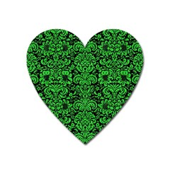 Damask2 Black Marble & Green Colored Pencil Heart Magnet