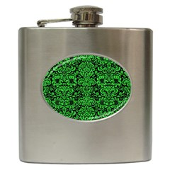 Damask2 Black Marble & Green Colored Pencil Hip Flask (6 Oz)