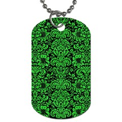 Damask2 Black Marble & Green Colored Pencil Dog Tag (two Sides)