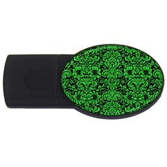 Damask2 Black Marble & Green Colored Pencil Usb Flash Drive Oval (4 Gb)