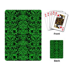 Damask2 Black Marble & Green Colored Pencil Playing Card