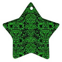 Damask2 Black Marble & Green Colored Pencil Star Ornament (two Sides)