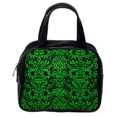 Damask2 Black Marble & Green Colored Pencil Classic Handbags (one Side)
