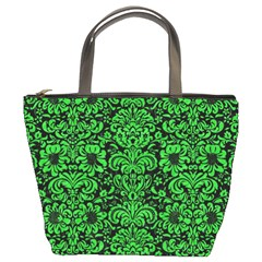 Damask2 Black Marble & Green Colored Pencil Bucket Bags