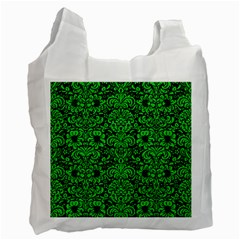 Damask2 Black Marble & Green Colored Pencil Recycle Bag (one Side)