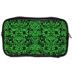 Damask2 Black Marble & Green Colored Pencil Toiletries Bags
