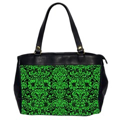 Damask2 Black Marble & Green Colored Pencil Office Handbags (2 Sides)