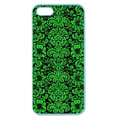 Damask2 Black Marble & Green Colored Pencil Apple Seamless Iphone 5 Case (color)