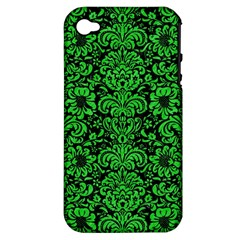 Damask2 Black Marble & Green Colored Pencil Apple Iphone 4/4s Hardshell Case (pc+silicone)