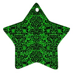 Damask2 Black Marble & Green Colored Pencil (r) Ornament (star)