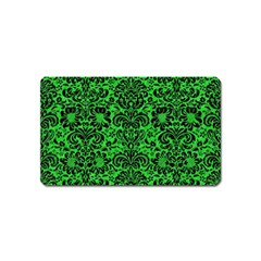 Damask2 Black Marble & Green Colored Pencil (r) Magnet (name Card)
